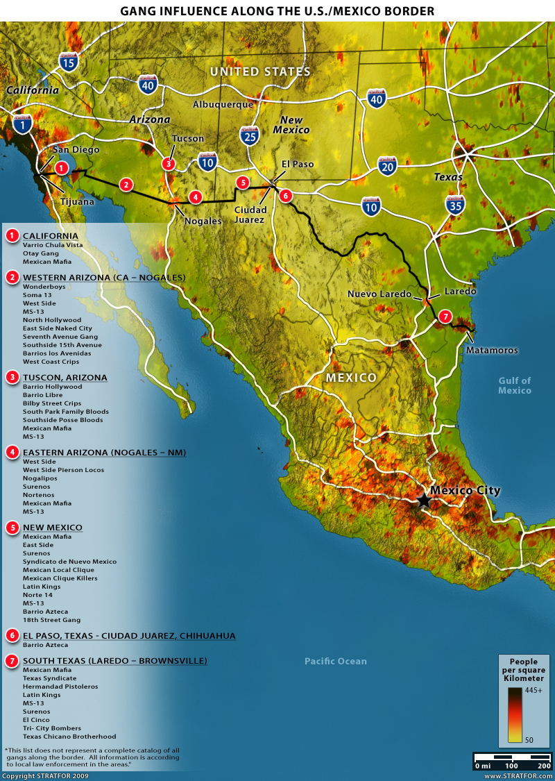 Stratfor When The Mexican Drug Trade Hits The Border  Fabius - M13 gang us map