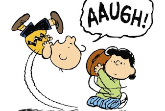 Charlie Brown falls for the Football scam, again