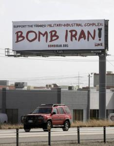 Bomb Iran sign