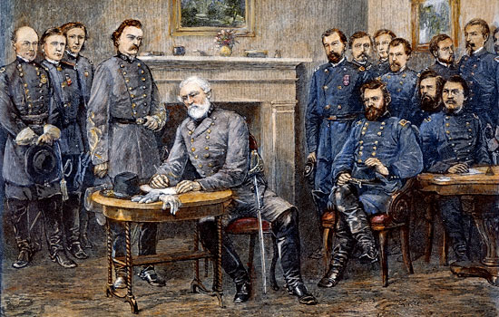 Appomattox Court House, 9 April 1865; based on an 1887 illustration by Alfred R. Waud