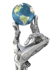 Robot hand holding the 21st Century world