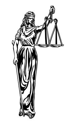 American Justice: blind, no sword.