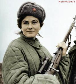 Lyudmila Pavlichenko, 187 confirmed kills.
