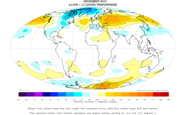 November 2013 Global Temperature map
