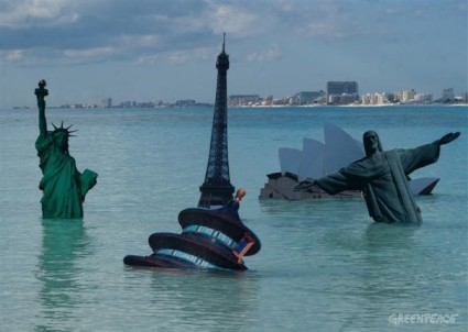 Greenpeace artwork about sea levels