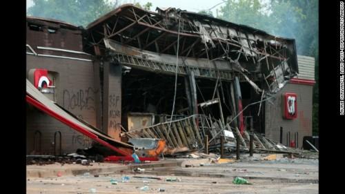 Burnt out QuikTrip in Ferguson, MO