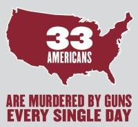 33 murders with guns per year in America