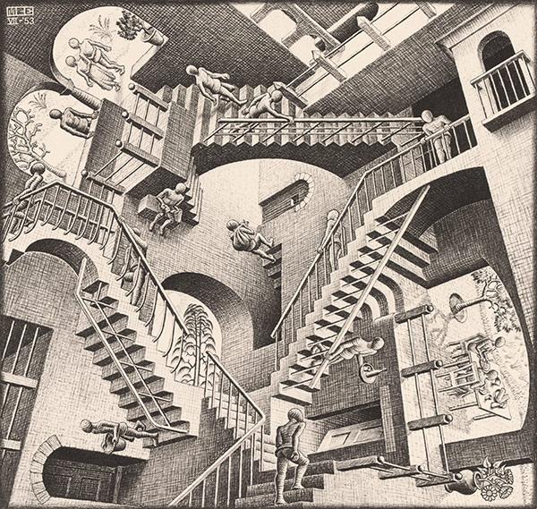 """M.C. Escher: """"Relativity"""" (1953)"""