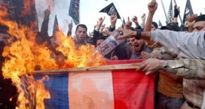 Muslims burning French flag