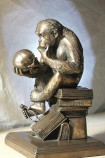 """""""Affe mit Schädel"""" (""""ape with skull"""") by Hugo Rheinhold (c.1893)."""