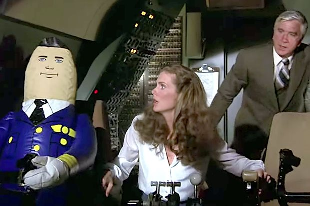 """Julie Hagerty & Leslie Neilsen in """"Airplane!"""" (Paramount Pictures)"""