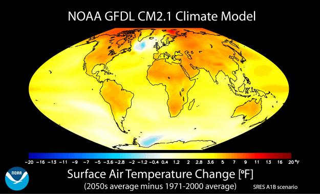 Temperature change in NOAA's GFDL CM2.1 model.