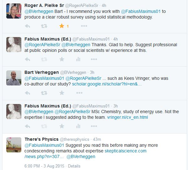 Twitter exchange about expertise