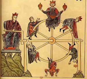 """The Wheel of Fortune"" from Garden of Delights (1164)."