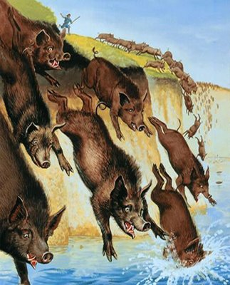 Pigs running off a cliff