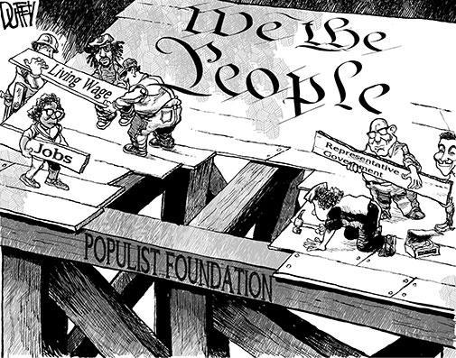 """Cartoon by Brian Duffy: """"Populist"""", Jan 2014"""