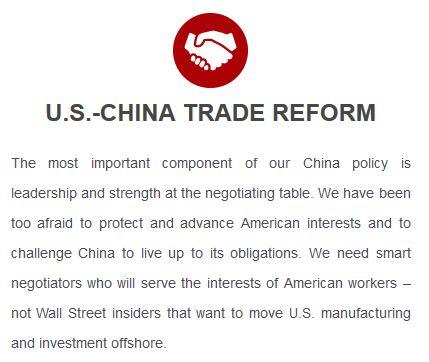 Trump platform: relations with China