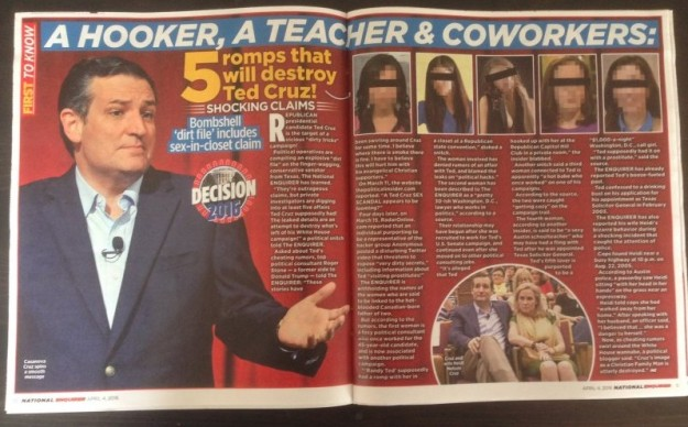 Story about Ted Cruz in National Enquirer, 23 March 2016