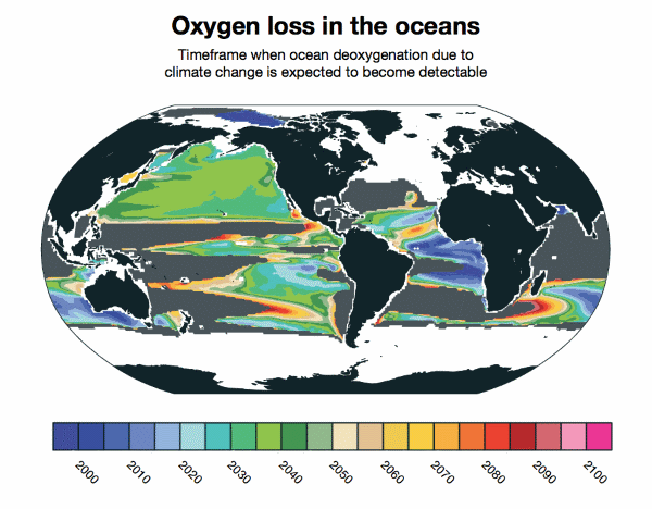 Oxygen loss in the oceans