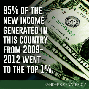 Sanders: income gains go to the top