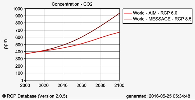 CO2 forecasts from the RCPs