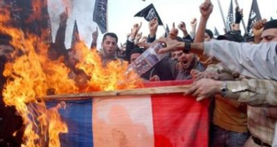 French Muslims burning French flag