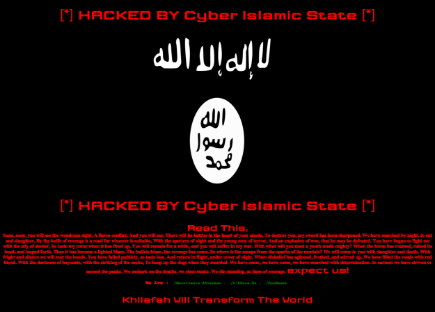 Screenshot of an ISIS cyberattack