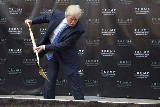Donald Trump digging