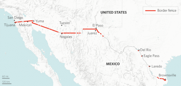 Indian Strategic Studies Stratfor The Hurdles To Building - Map of us mexico border fence