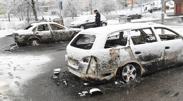 Aftermath of riot in Rinkeby, Sweden