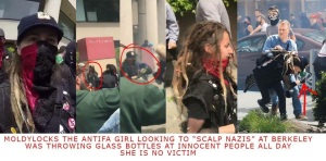 Berkeley riot: girl with a glass bottle