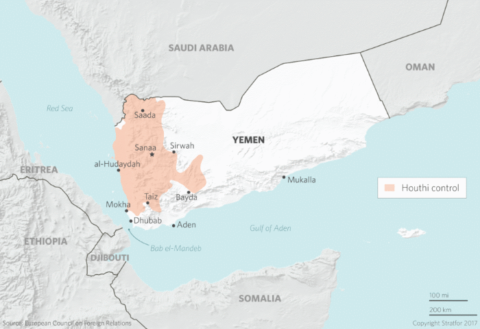 Yemen: area under Houthi control