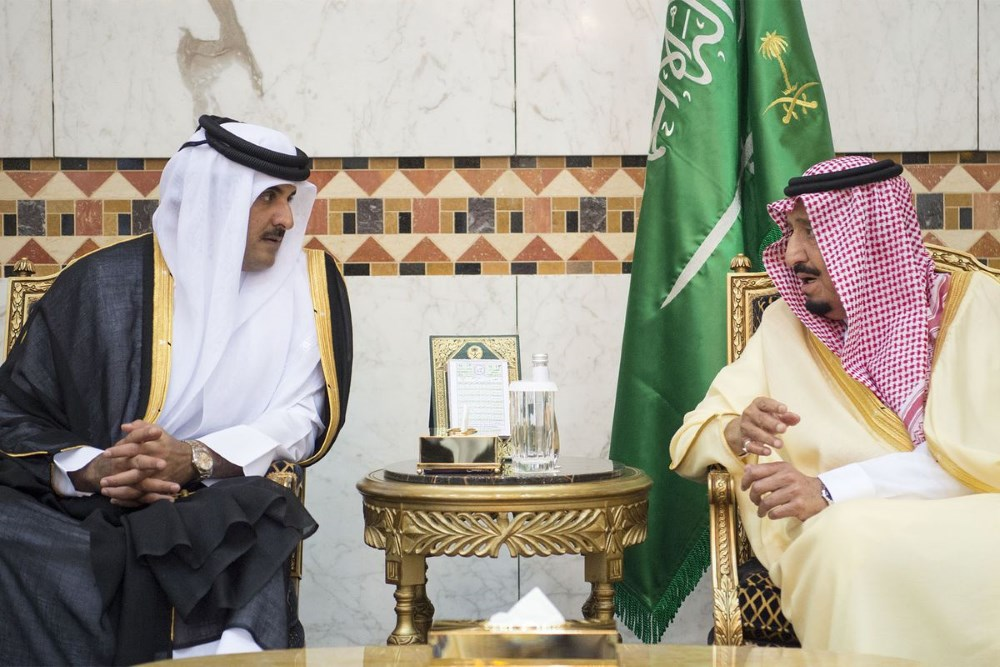 Saudi King Bin bin Abdulaziz and Qatar Emir Sheikh Tamim bin Hamad Al Thani.