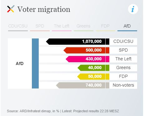 Sources of AfD votes - from DW.